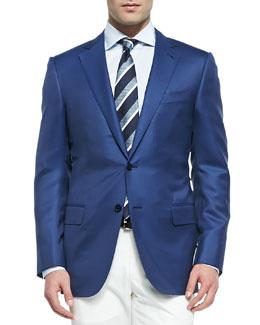 Ermenegildo Zegna Twill Wool-Silk Blazer, Blue