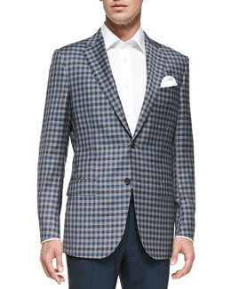 Ermenegildo Zegna Check Two-Button Jacket, Gray/Blue