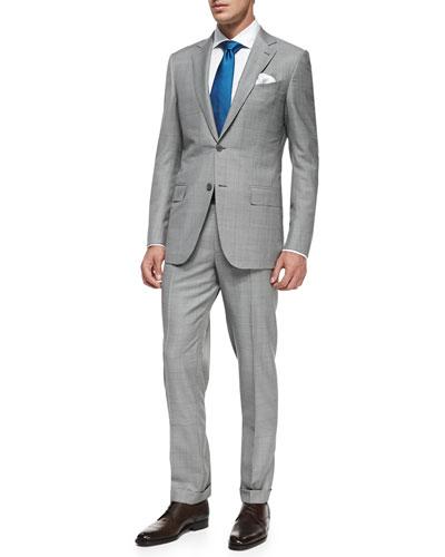 Ermenegildo Zegna Trofeo Wool Windowpane Suit, Black/White