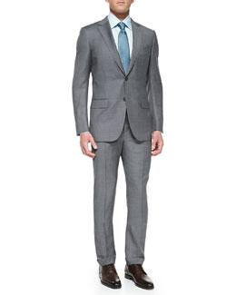 Ermenegildo Zegna Sharkskin Suit Jacket, Gray