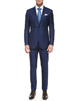 Ermenegildo Zegna Rope-Stripe Wool Suit, Blue