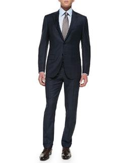 Ermenegildo Zegna Trofeo Wool Windowpane Suit, Navy