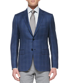 Ermenegildo Zegna Plaid Two-Button Jacket, Blue
