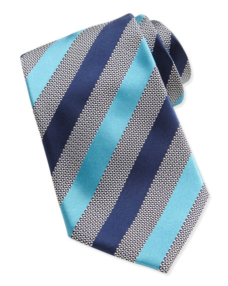 Woven Alternating Satin Striped Tie, Blue