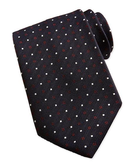 Textured Dot Neat Tie, Navy