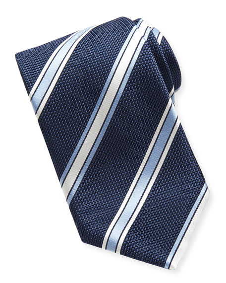 Satin Grenadine Striped Tie, Navy