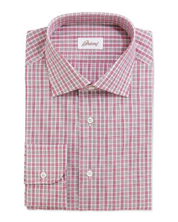 Brioni Multicolored Stripe Checked Dress Shirt, Red/Tan