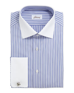Brioni Contrast-Collar Striped Dress Shirt, Periwinkle/White