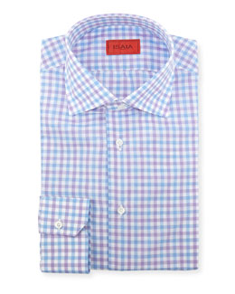Isaia Woven Box-Check Dress Shirt, Purple/Blue