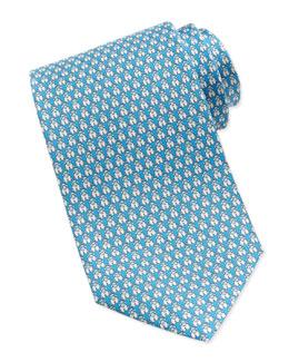 Salvatore Ferragamo Lamb-Print Silk Tie, Aqua