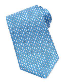 Salvatore Ferragamo Sea Horse-Print Silk Tie, Light Blue