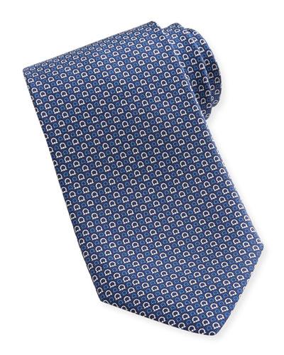 Salvatore Ferragamo Micro-Gancini Silk Tie, Navy
