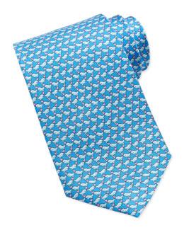 Salvatore Ferragamo Whale-Print Silk Tie, Light Blue