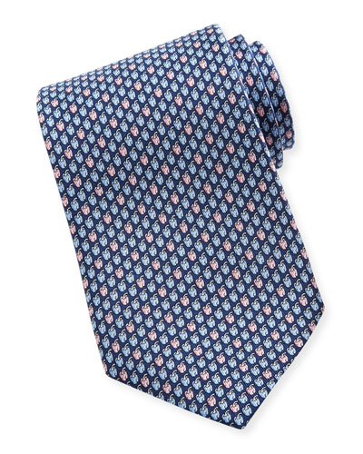 Salvatore Ferragamo Chili Pepper-Print Silk Tie, Navy