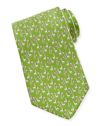 Salvatore Ferragamo Giraffe-Print Silk Tie, Green
