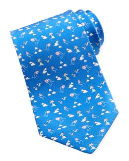 Salvatore Ferragamo Kites & Clouds Silk Tie, Blue