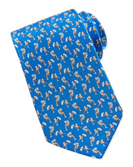 Salvatore Ferragamo Monkey-Print Silk Tie, Blue
