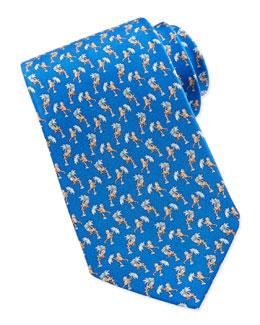 Salvatore Ferragamo Monkey-Print Silk Tie, Blue