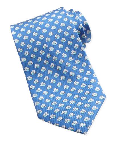Salvatore Ferragamo Elephant-Print Silk Tie, Blue