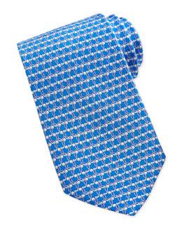 Salvatore Ferragamo Golf-Print Silk Tie, Blue