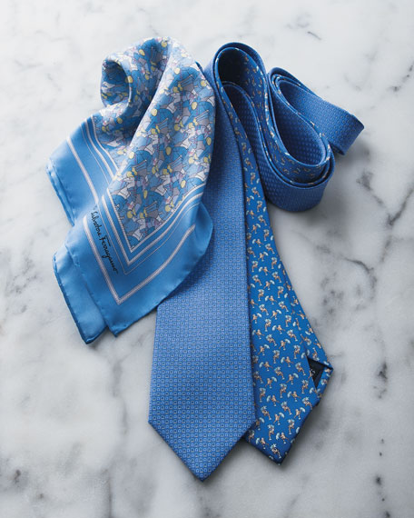 Micro-Gancini Silk Tie, Light Blue