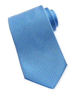 Salvatore Ferragamo Micro-Gancini Silk Tie, Light Blue