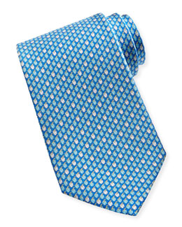Salvatore Ferragamo Chili Pepper Silk Tie, Aqua