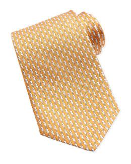 Salvatore Ferragamo Sea Horse-Print Silk Tie, Orange
