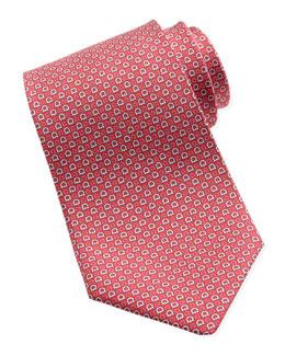 Salvatore Ferragamo Micro-Gancini Silk Tie, Red
