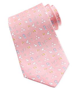 Salvatore Ferragamo Kites & Clouds Silk Tie, Pink