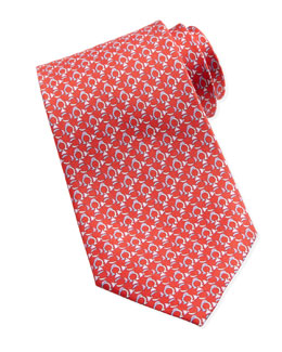 Salvatore Ferragamo Gancini-Fish Silk Tie, Red