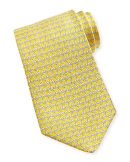 Salvatore Ferragamo Sailboat-Print Silk Tie, Yellow
