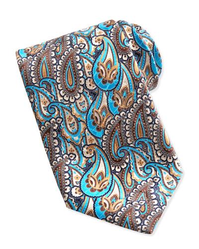 Ermenegildo Zegna Layered Paisley Tie, Taupe