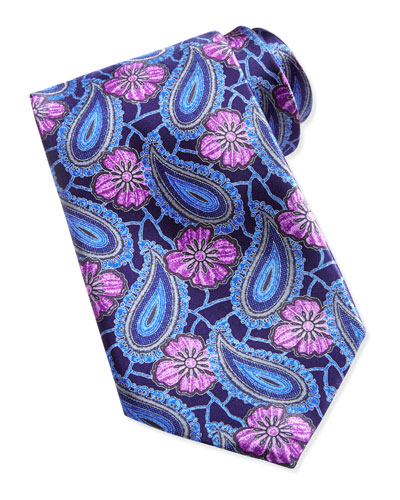 Ermenegildo Zegna Large Paisleys and Floral Tie, Navy