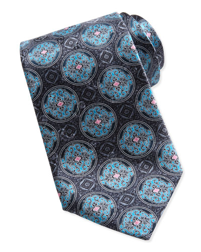 Ermenegildo Zegna Fancy Circle Medallion Silk Tie, Gray