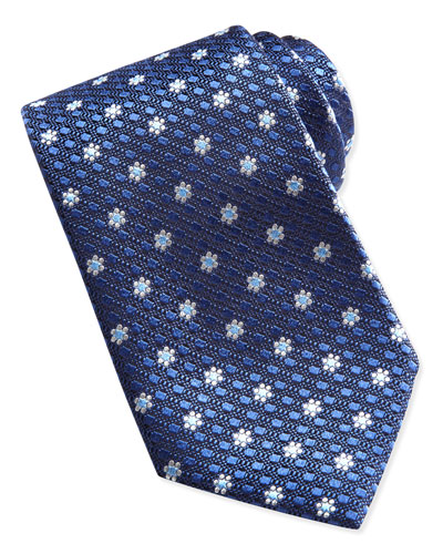 Ermenegildo Zegna Textured Spaced Flowers Tie, Navy