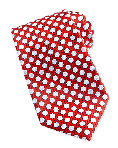 Ermenegildo Zegna Woven Chalk Flowers Silk Tie, Red