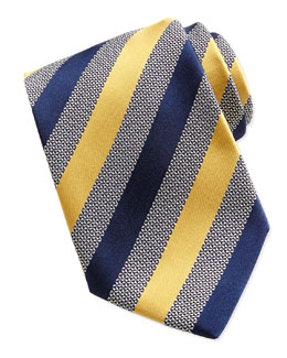 Ermenegildo Zegna Woven Alternating Satin Striped Tie, Yellow