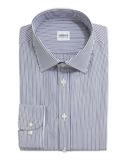 Armani Collezioni Bengal-Stripe Woven Dress Shirt, Navy/White