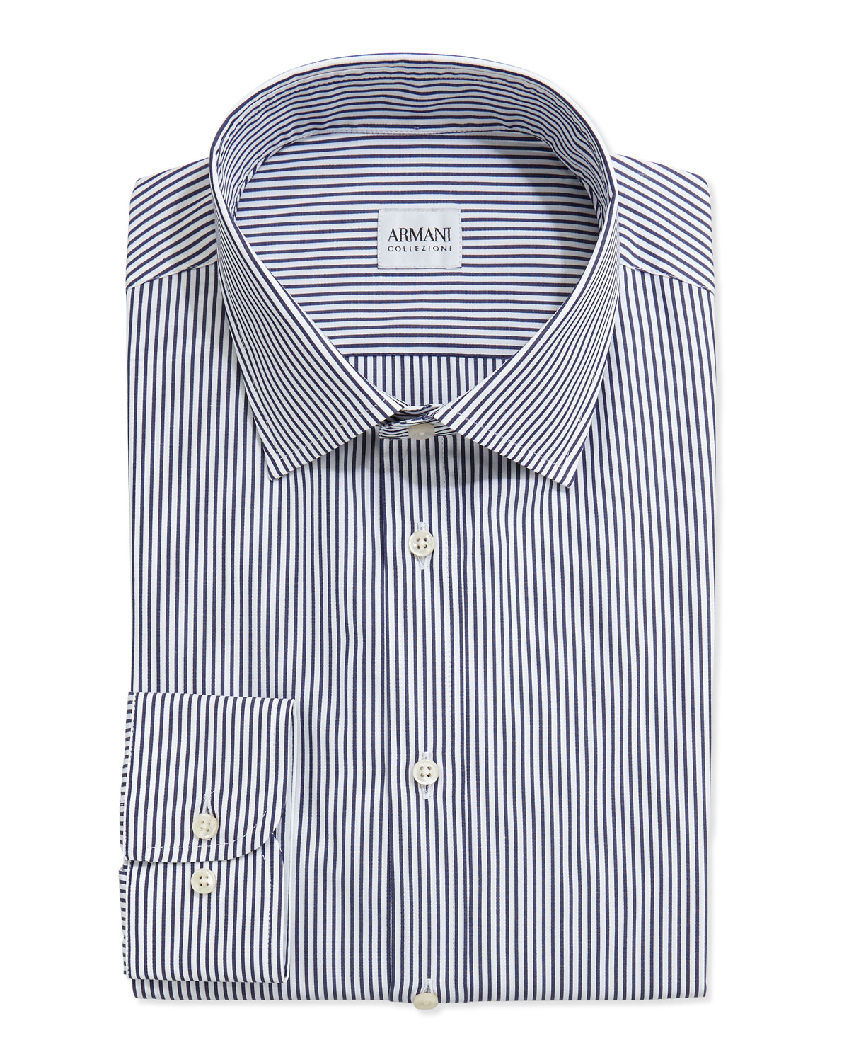 Bengal-Stripe Woven Dress Shirt, Navy/White