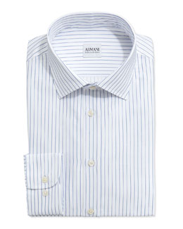Armani Collezioni Pinstripe Dress Shirt, Royal/White