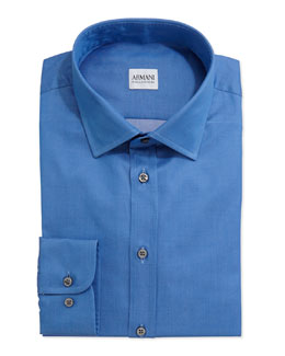 Armani Collezioni Solid Woven Dress Shirt, Blue