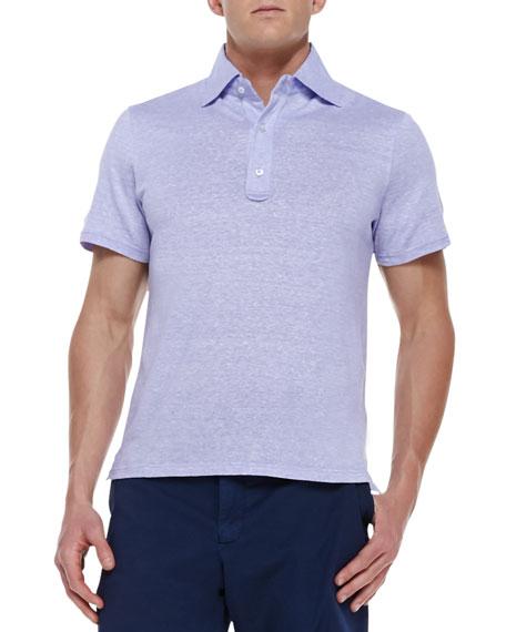 Linen-Cotton Melange Polo Shirt, Purple