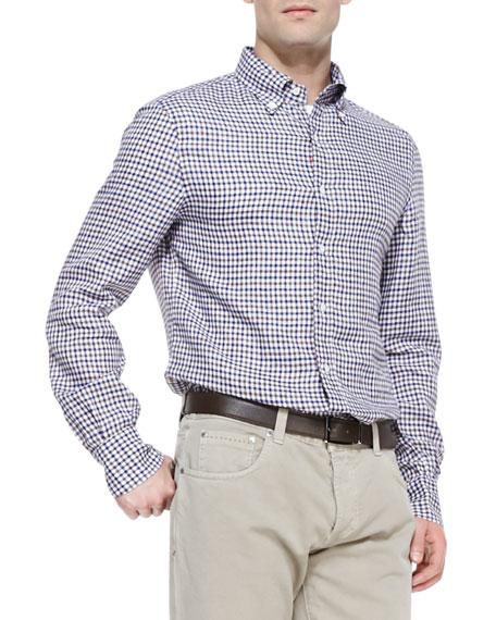 Tattersall Linen Shirt, Blue/Brown