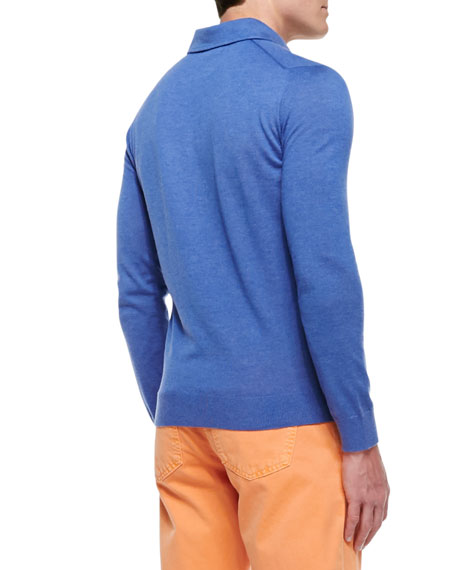 Cashmere Long-Sleeve Polo, Midnight Blue