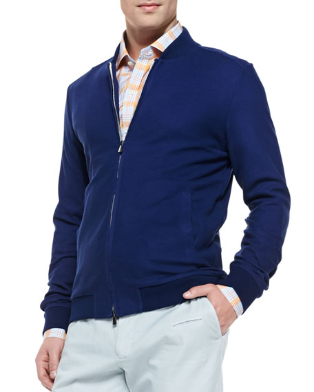 Cotton/Silk Baseball Jacket, Navy