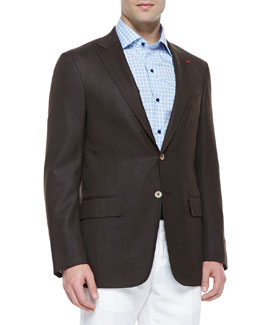 Isaia Wool Two-Button Blazer, Brown