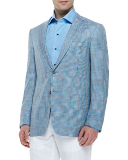 Isaia Wool Plaid Sport Coat, Aqua Check
