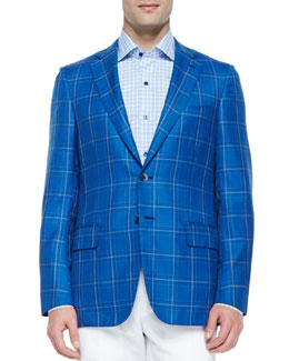Isaia Wool Plaid Sport Coat, Navy