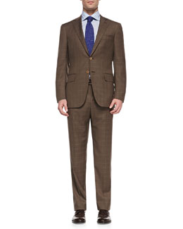 Isaia Windowpane Two-Button Suit, Brown
